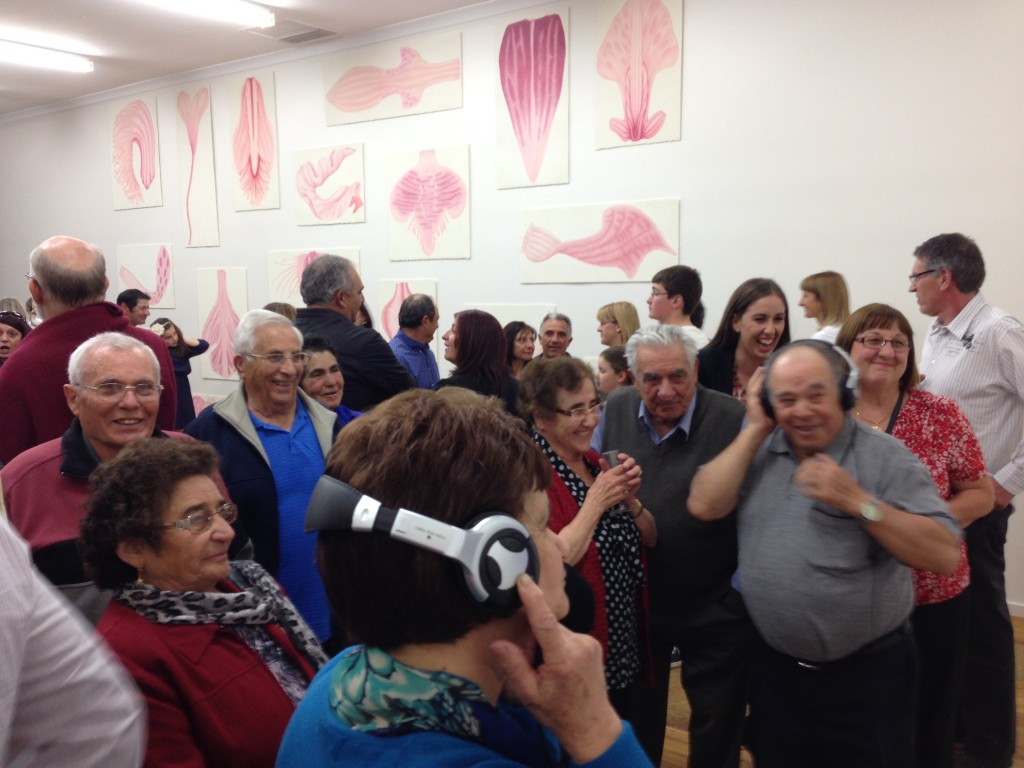 Opening night and there was a huge and supportive turn out by the Italian community and many of the participants who were involved in the sound and video components of the work.