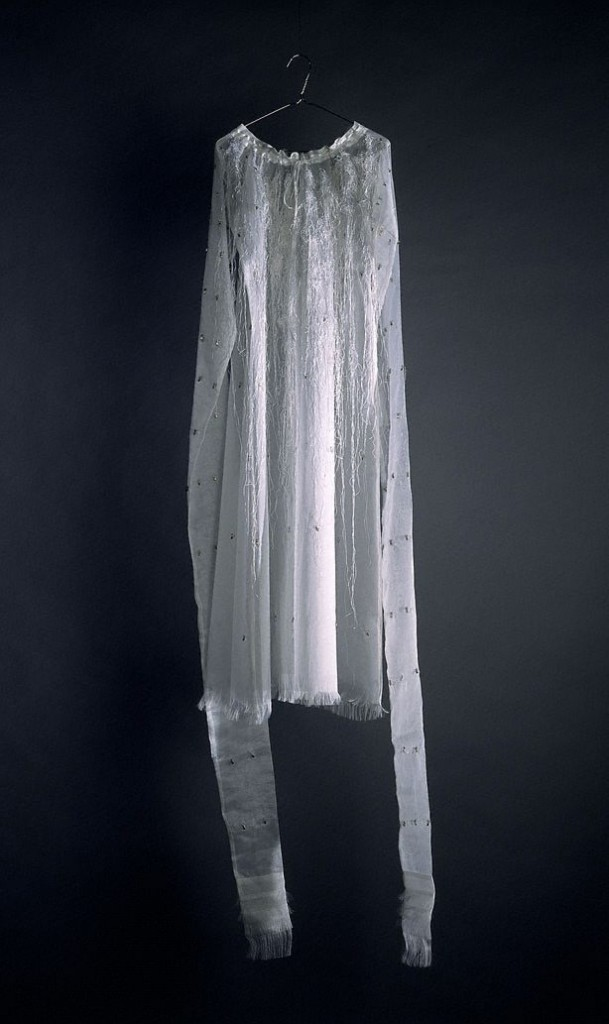 Rosslynd Piggot, La Somnambule also known as The sleepwalker, 1996-1997 Mixed media, silk, hooks, coat hangers, Perspex, stainless steel. Dimensions variable. Not signed. Not dated.Contemporary Collection Benefactors 2003 From the website of AGNSW.