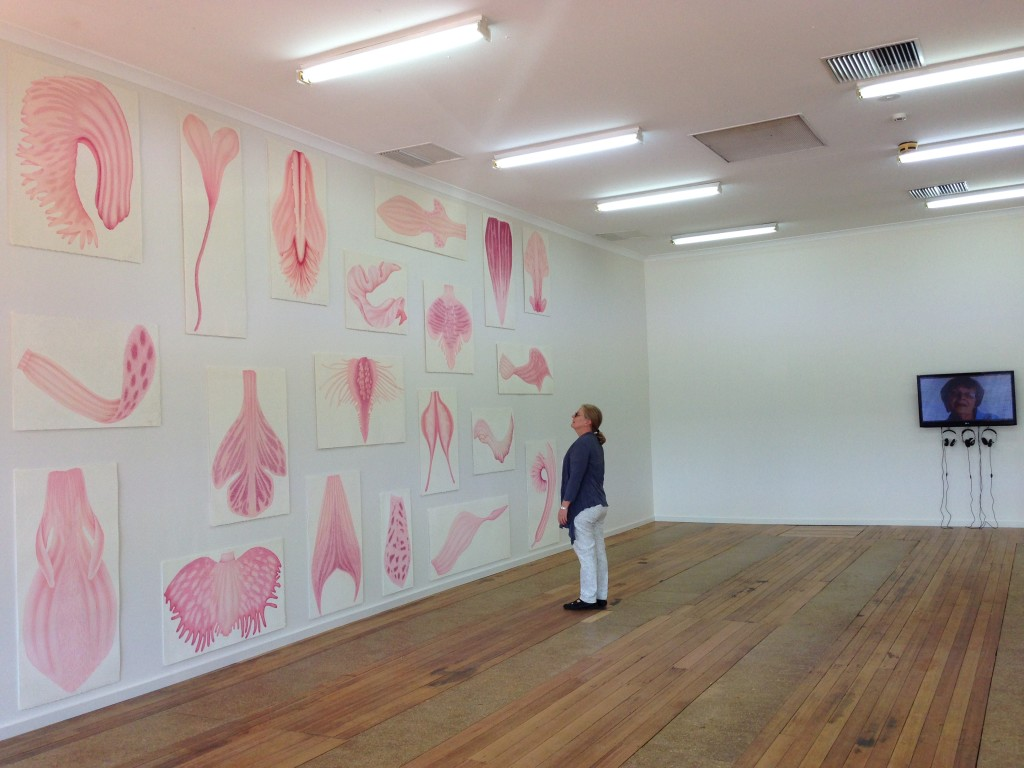 Palimpsest #9 curator, Helen Vivian viewing the work at the old ADFA building in Deakin Avenue, Mildura