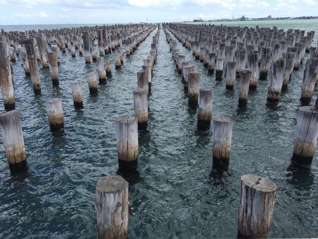 The pylons of Princes Pier, Port Melbourne